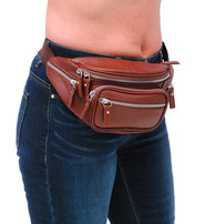 Brown Cowhide Leather Waist Bag w/Silver Zippers #FP30781SN