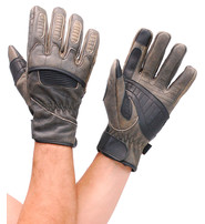 First MFG Gray Leather Padded Riding Gloves w/Phone Fingertips #G81692GY