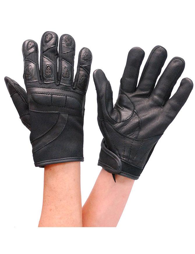 Women's Black Leather and Mesh Padded Gloves #GL80200VK