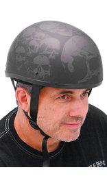 (d) D.O.T. Skulls on Flat Black Helmet #H9771SKK