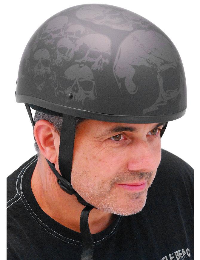D.O.T. Skulls on Flat Black Helmet #H9771SKK