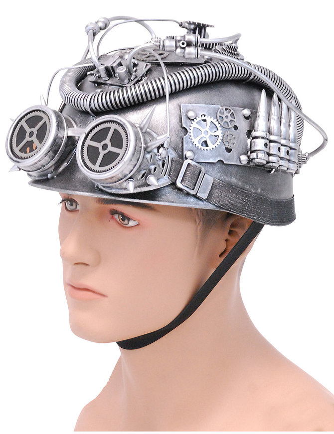 Silver Steampunk Helmet w/Goggles & More #H39419XSIL