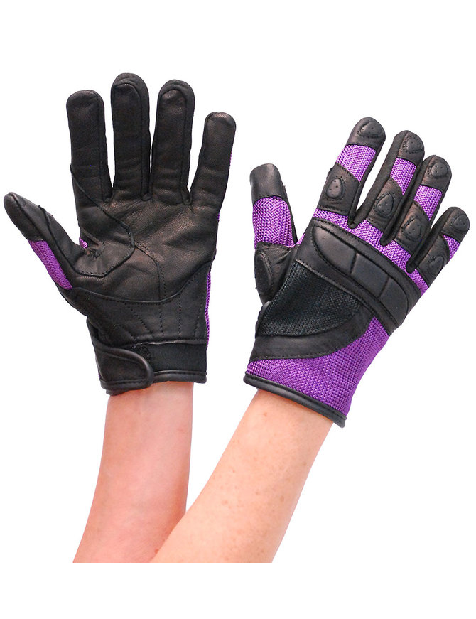 Women's Purple Mesh and Leather Padded Gloves #GL80208VPU
