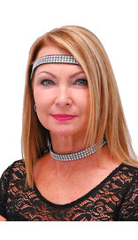 Jamin Leather Simulated Crystal Headband and Choker Set #HB2001CR