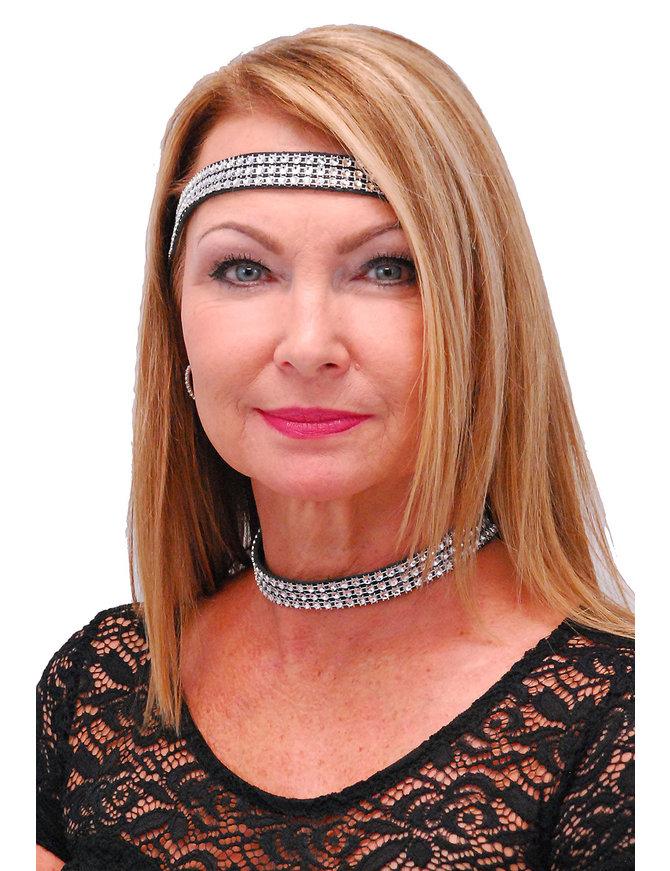 Jamin Leather Simulated Crystal Headband and Choker Set #HB2001CR