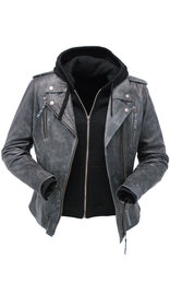Unik Women's Vintage Gray Leather Motorcycle Jacket w/Hoodie #LA6841VHGY