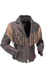 Jamin Leather Womens Cut Edge Brown Leather Fringe Western Jacket #LA21488FN