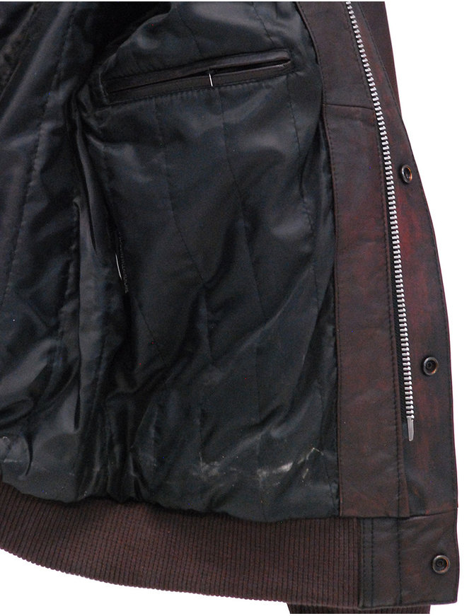 First MFG Brown Classic A2 Leather Bomber Jacket w/Removable Collar #M2191N