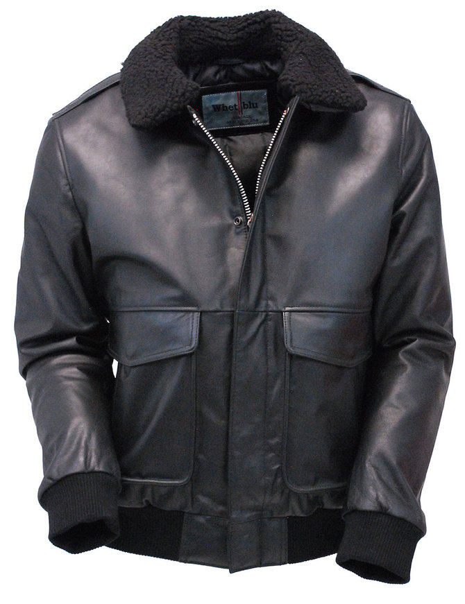First MFG Black Classic A2 Leather Bomber Jacket w/Removable Collar #M2190K