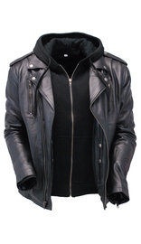 Unik Men's Soft Black Leather Motorcycle Jacket w/Hoodie #M6925VHGK