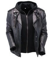 Unik Men's Soft Black Leather Motorcycle Jacket w/Hoodie #M6925VHGK