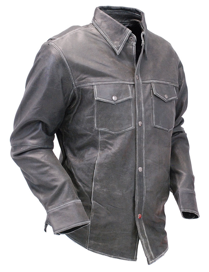 Milwaukee Men's Vintage Gray Leather Shirt w/CCW Pockets #MSA1605GY