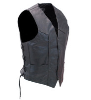 Live to Ride Vintage Leather Vest w/Side Lace #VM108LTR