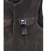 Jamin Leather Collarless Vintage Club Vest w/CCW Pockets #VMA74101GN