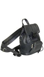 Small Black Leather Backpack Handbag #BPS1