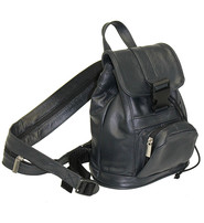 Small Black Leather Backpack Handbag #BPS1