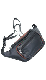 Two-Tone Black/Brown Heavy Leather Waist Bag #FP311KN