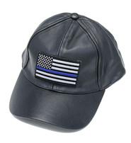 Thin Blue Line Flag Leather Baseball Cap #H44BLUELINE
