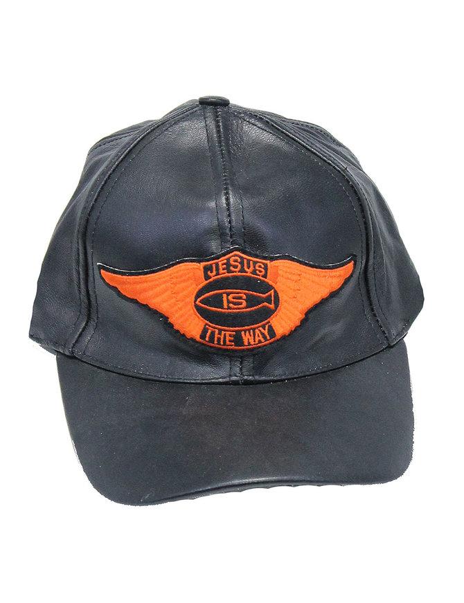 Jesus Is The Way Wings Leather Baseball Cap #H44JESUS