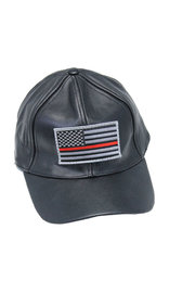 Thin Red Line Flag Leather Baseball Cap #H44REDLINE
