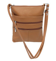 Large Tan Leather Cross Body Purse #P0113T