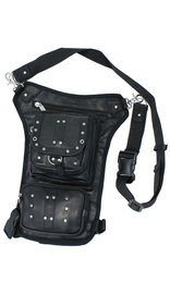 Long Studded Leather Thigh Bag w/CCW #TB353XGRK