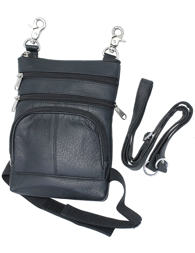 Black Leather Side Purse, Thigh Bag & Hip Clip Pouch #TB830K