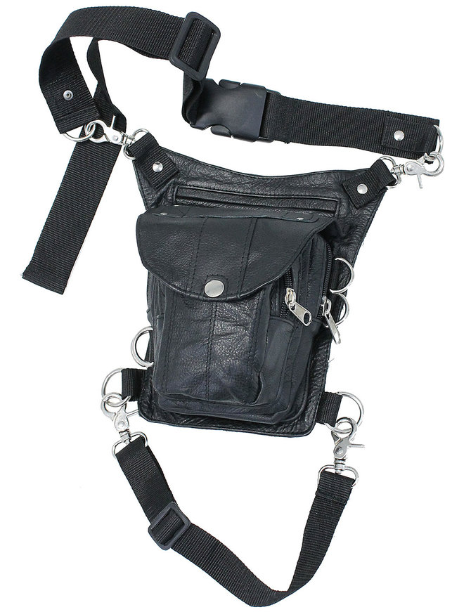 Short Black Leather Thigh Bag w/Small CCW #TB2083GRK