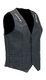 Unik Hand Lace and Indian Bead Inlay Men's Leather Vest #VM641BDK (42-50)