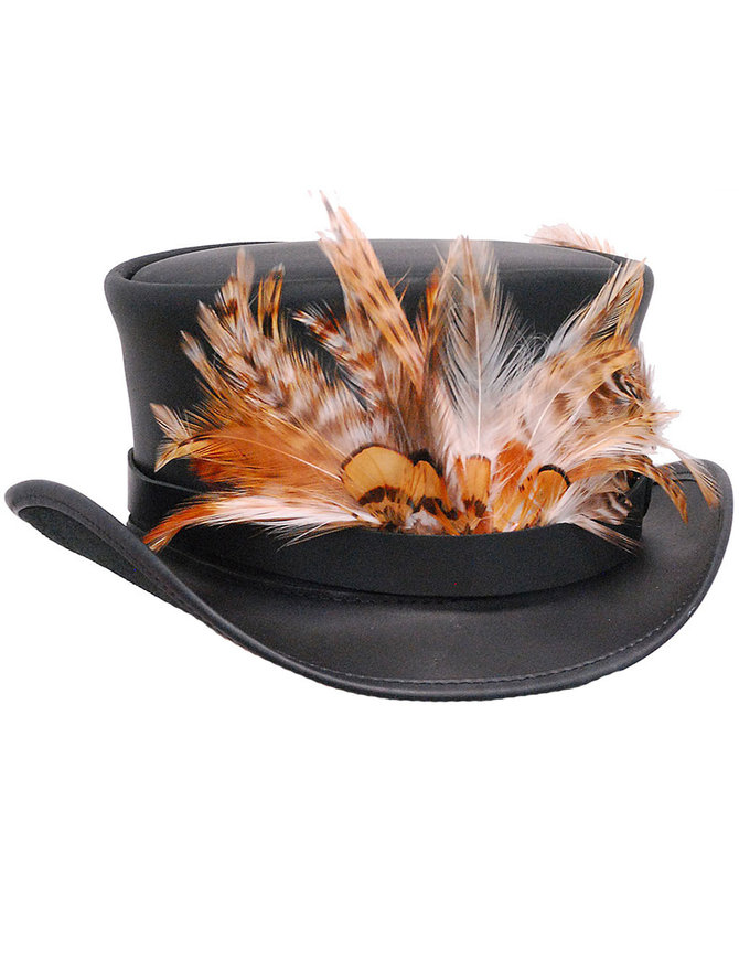 USA Brand Steampunk Black Leather Top Hat w/Large Feather Hatband #H56503XFK