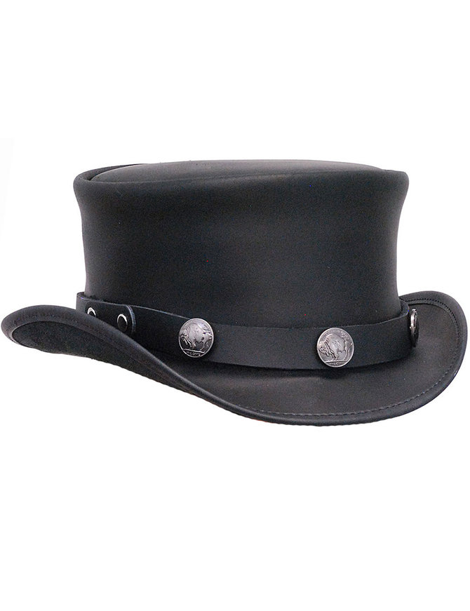 Made in USA Buffalo Nickle Black Leather Top Hat #H56501BUFK