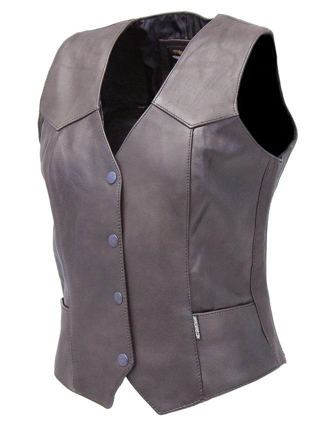 Jamin Leather Vintage Brown Basic Leather Vest for Women #VL1225N