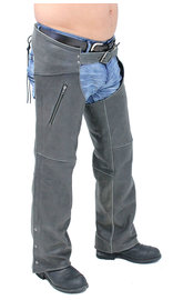 Milwaukee Milwaukee Vintage Gray Leather Chaps w/Zip Pockets #CA5536GY