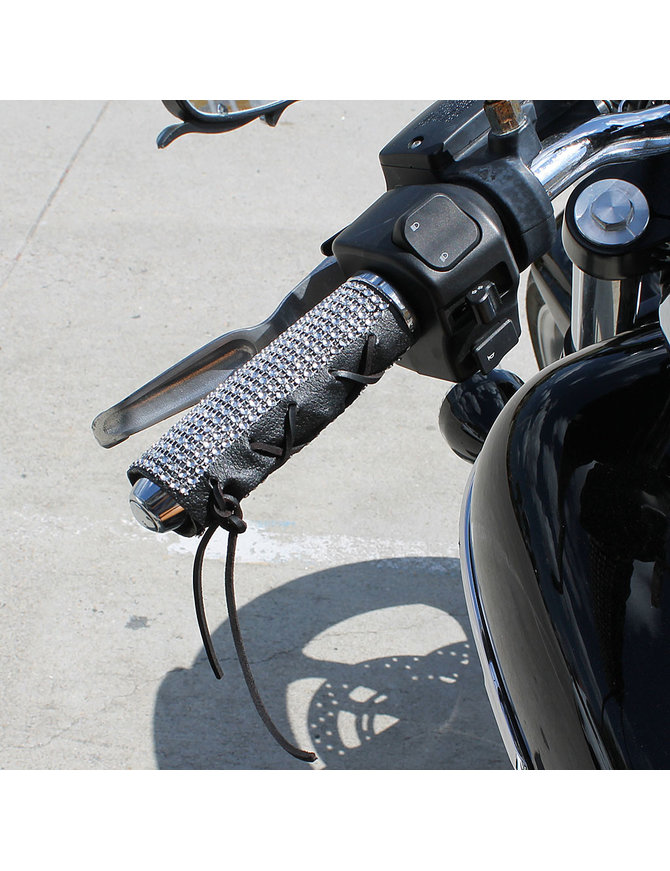 Jamin Leather Simulated Crystal Leather Motorcycle Grip Covers #GR2004TCRY