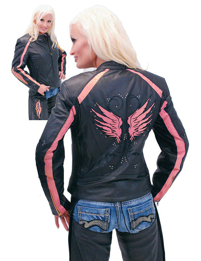 Pink Wings Leather Motorcycle Jacket for Women #L5206PINK