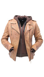 Unik Women's Light Brown Hoodie Motorcycle Jacket #L68411HN