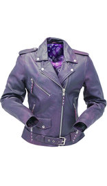 Unik Vintage Purple Leather Motorcycle Jacket #LA6832117P