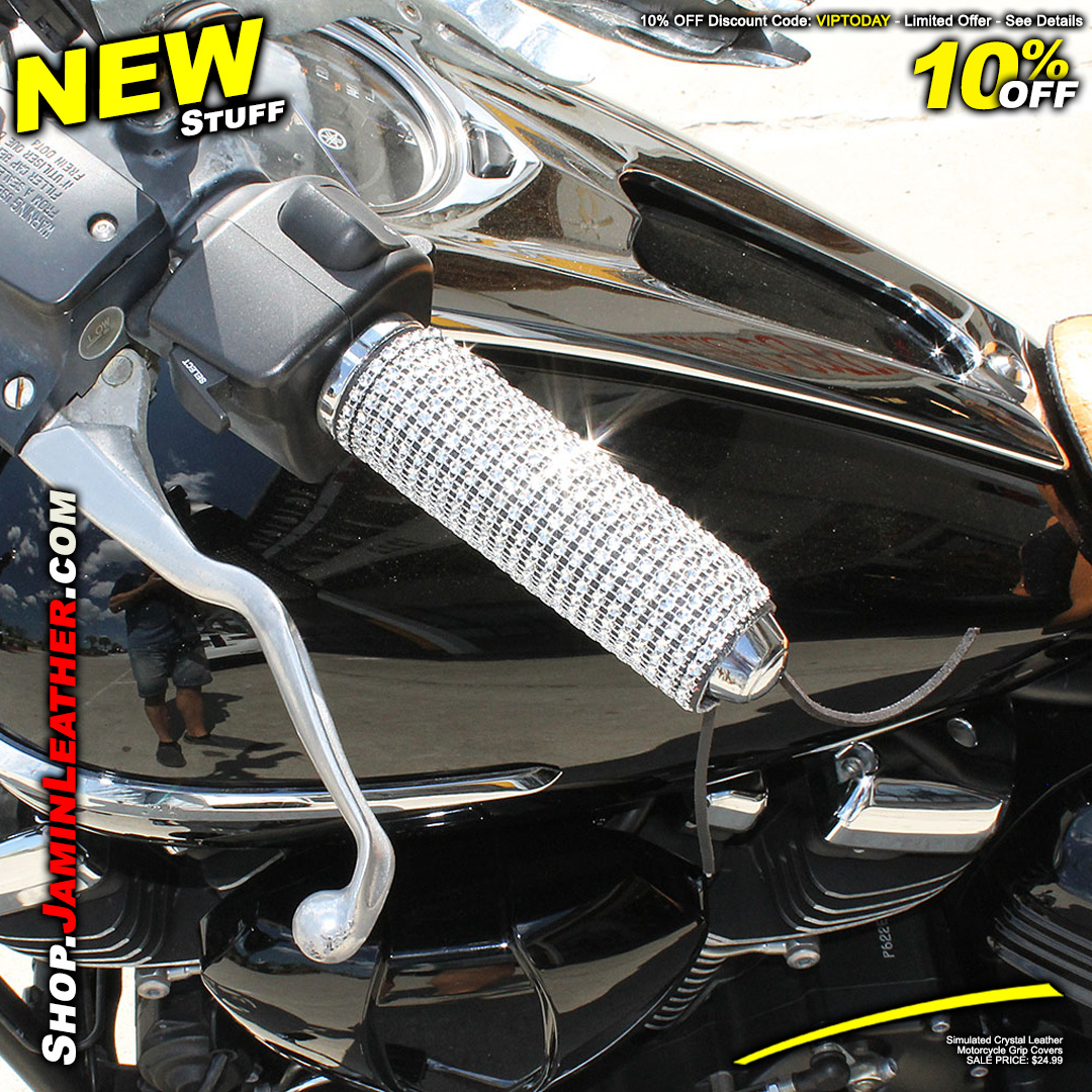 Get 10% Off Now! - Simulated Crystal Leather Motorcycle Grip Covers