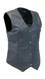 Milwaukee Women's Long Black Vest in Soft Naked Leather #VL4545GK