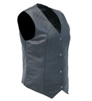 Milwaukee Women's Long Black Vest in Soft Naked Leather #VL4545GK
