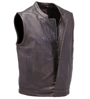 First MFG Heavy Vintage Brown Leather Club Vest CCW #VMA621GN