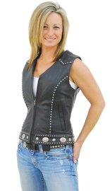 Unik Mini Stud & Concho Zip Vest for Woman #VL4275SCZK (S-3X)