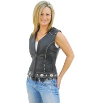 Unik Mini Stud & Concho Zip Vest for Woman #VL4275SCZK