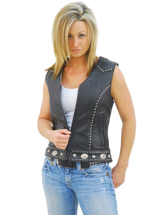 Unik Mini Stud & Concho Zip Vest for Woman #VL4275SCZK