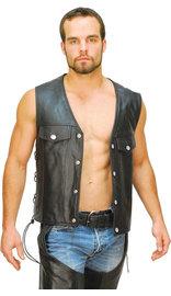 Classic Leather Vest - Denim Style #VM2601L (S-5X)