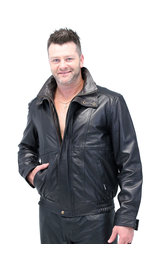 Jamin Leather Naked Leather Bomber Jacket w/Two-Tone Collar #M48TTK
