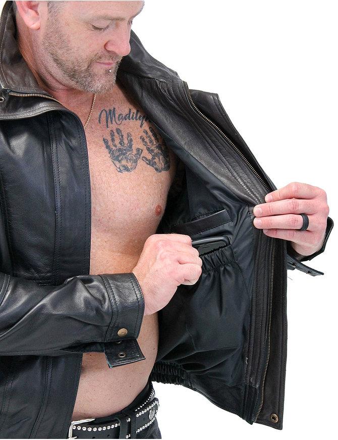 Jamin Leather Naked Leather Bomber Jacket w/Two-Tone Collar #M48TTK