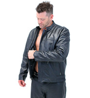 Classic Leather Cafe Racing Jacket for Men #M6057ZK