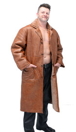 Men's Tan Genuine Sheepskin Fur Lined Trench Coat #M8962HN
