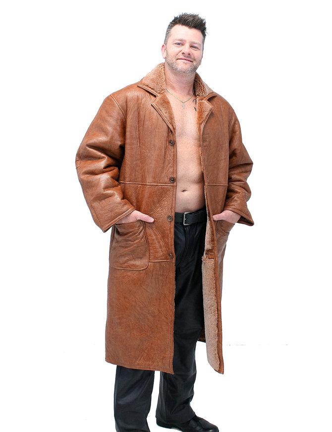 Men's Tan Genuine Sheepskin Fur Lined Trench Coat #M8962HN
